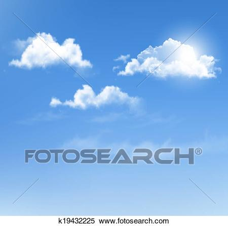Blue sky with clouds. Vector background. Clipart.