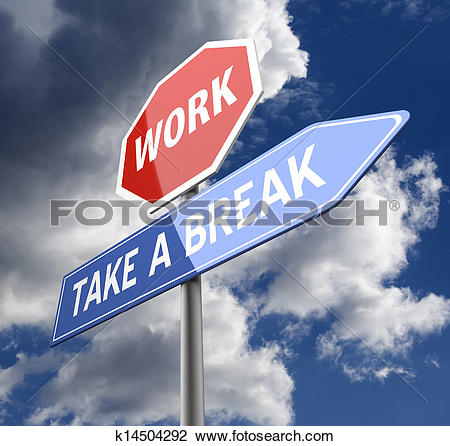 Clip Art of Work and Take a Break Words on Red Blue Road sign.
