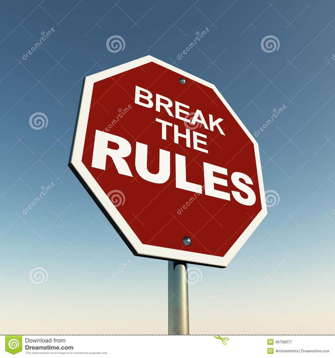 Break Rules Stock Illustration.