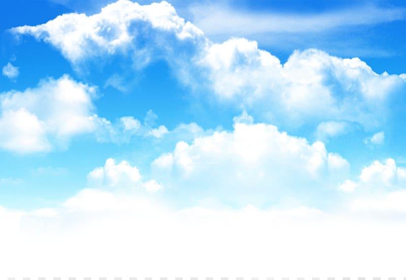Blue sky, Lawn Sky Reversal film, cloud transparent.