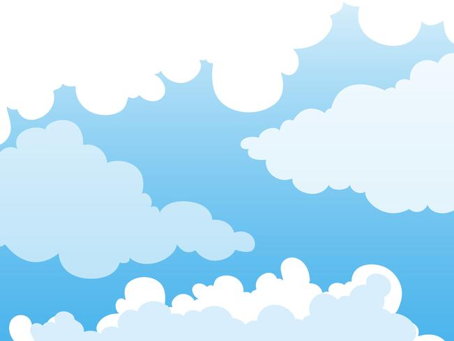 Background design with clouds in blue sky.