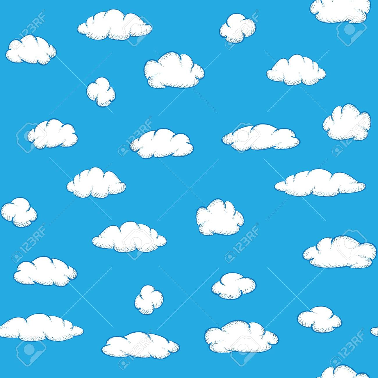 Blue Sky With Clouds Clipart.
