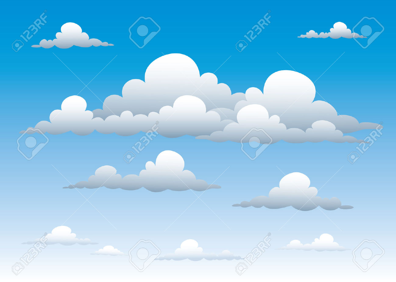 Blue Sky with Clouds Clip Art.