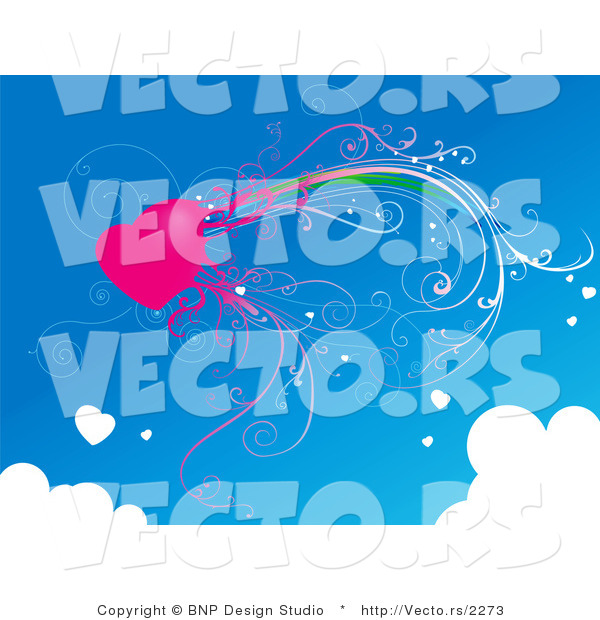 Vector of Pink Heart with Vines in a Blue Sky Bordered with Clouds.
