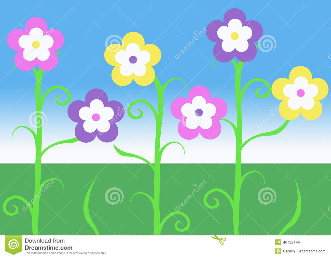 Pink Purple And Yellow Spring Easter Vine Flowers Illustration.
