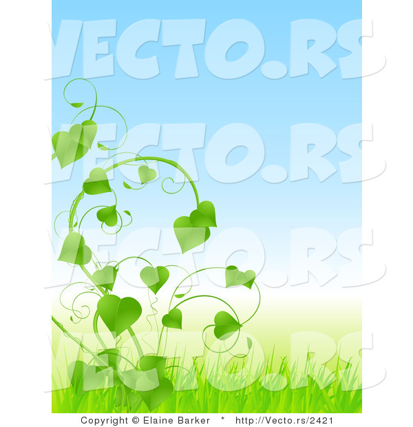 Vector of Lush Green Vines with Love Heart Shaped Leaves and Blue.
