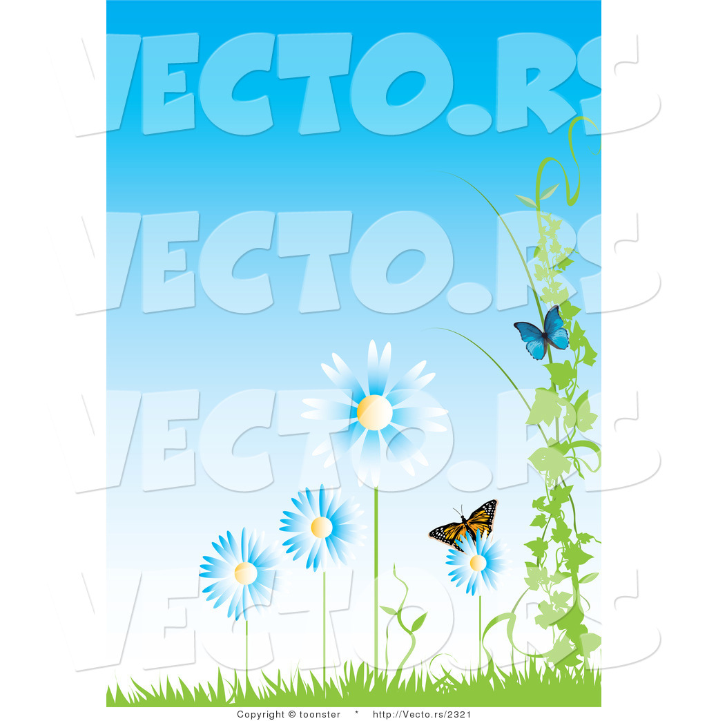 Vector of Butterflies with Blue Flowers, Vines and Grass Against a.