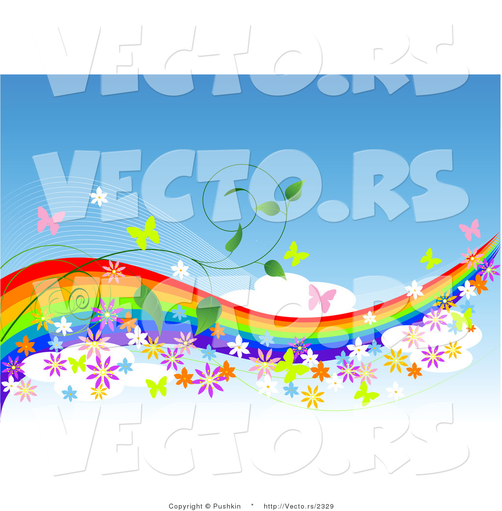 Vector of Colorful Rainbow in Blue Sky with Butterflies, Flowers.