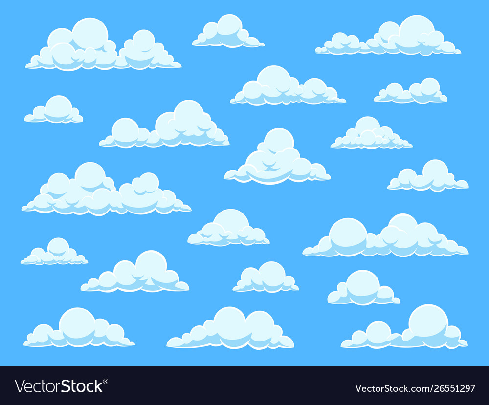 Cartoon sky clouds cloudscape in blue sky.