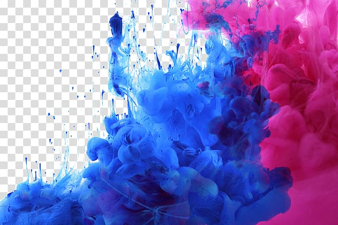 Blue and pink smoke bombs illustration, Watercolor painting.