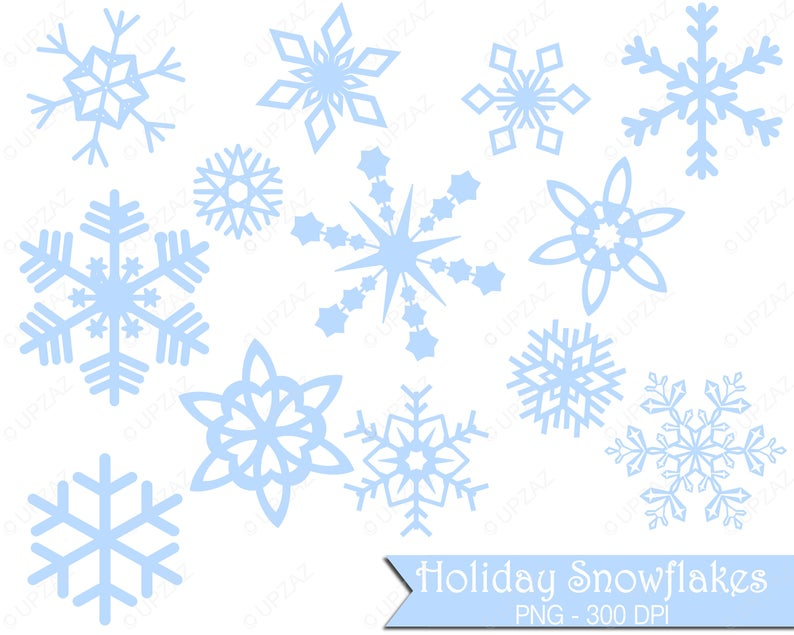 Pastel Blue Snowflake Clipart, Commercial Use.