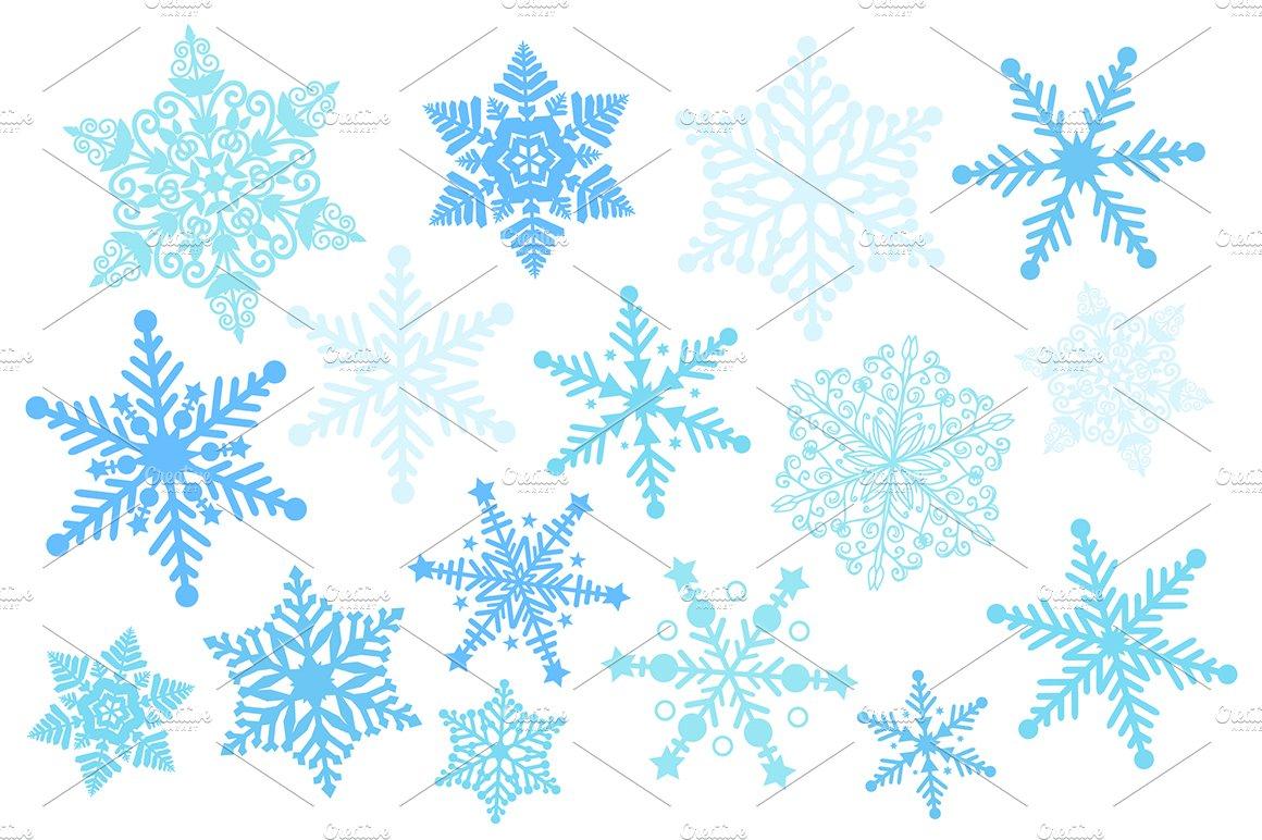 Blue Snowflake Silhouette Clipart.