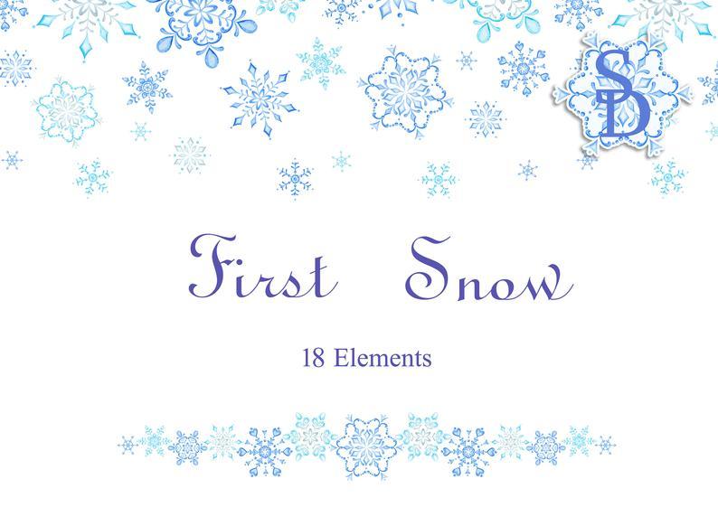 Blue snowflake clipart Handpainted snow DIY Watercolor winter PNG Printable  design Digital template Separate element Wedding décor Christmas.