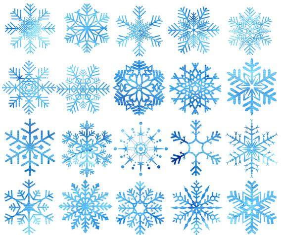 Watercolor Snowflakes Clipart: