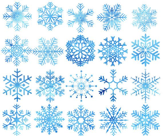 Watercolor Snowflakes Clipart: \