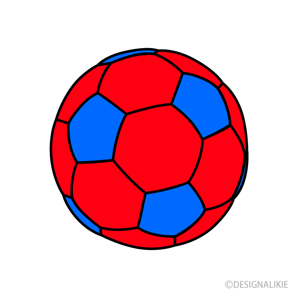 Free Red and Blue Soccer Ball Clipart Image|Illustoon.