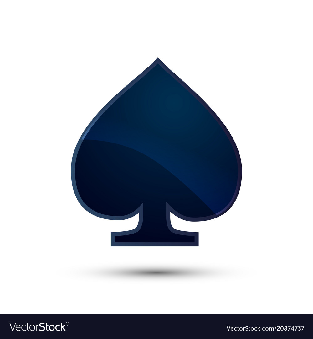 Glossy deep blue spades card suit icon on white.