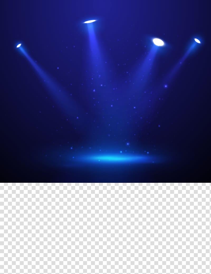 Four lighted blue track lights, Spotlight Stage, fantasy.