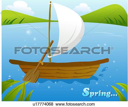 Stock Illustration of ship, scenery, river, spring, background.