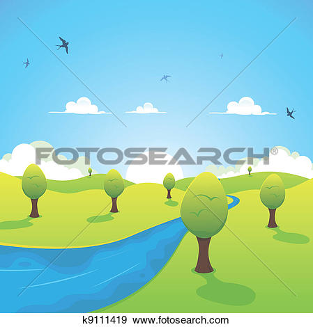 Clip Art of Spring Or Summer River And Flying Swallows k9111419.