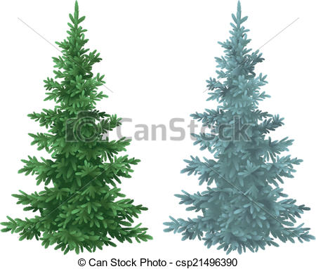EPS Vectors of Christmas green and blue spruce fir trees.