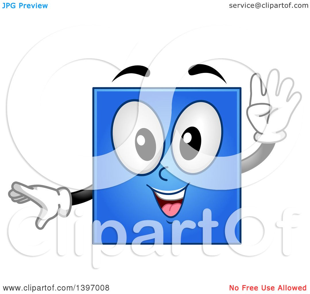 Clipart of a Happy Blue Square Shape Character.