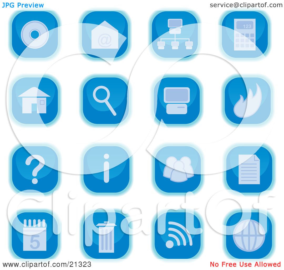 Clipart Illustration of a Collection Of Blue Square Computer Icon.