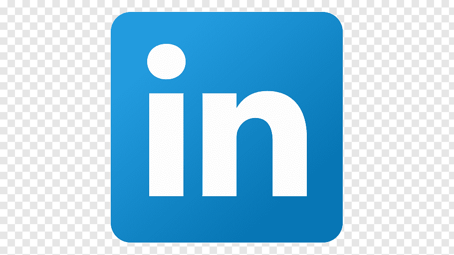 Blue and white In logo, blue square angle area, Linkedin.