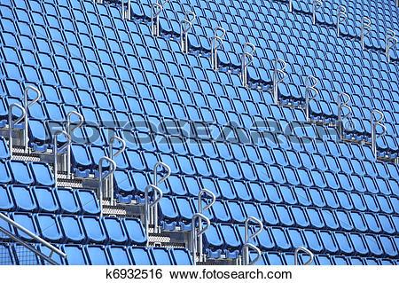 Stock Images of Blue stadium seats k6932516.