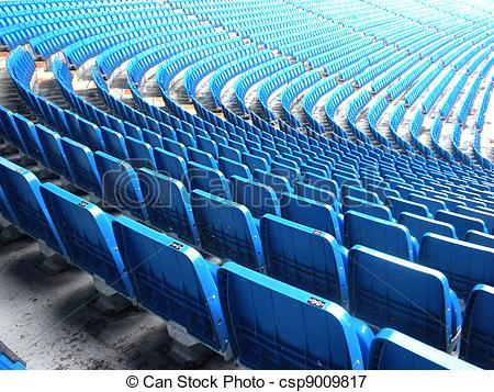 Picture of Blue stadium seats.