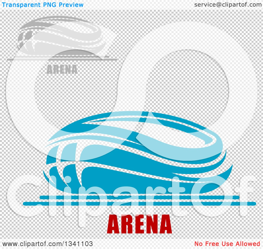 Clipart of Gray and Blue Sports Stadium Buildings with Text.