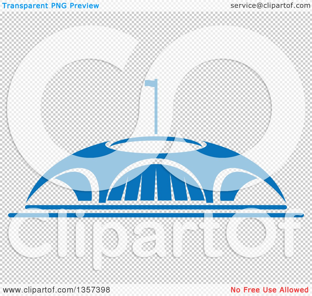 Clipart of a Blue Sports Stadium Arena Building.