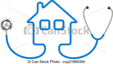 Clipart Vector of Stethoscope in shape of house in blue design on.