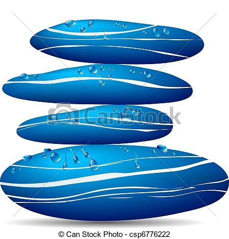 Vector Illustration of Blue Stone with water droplets.