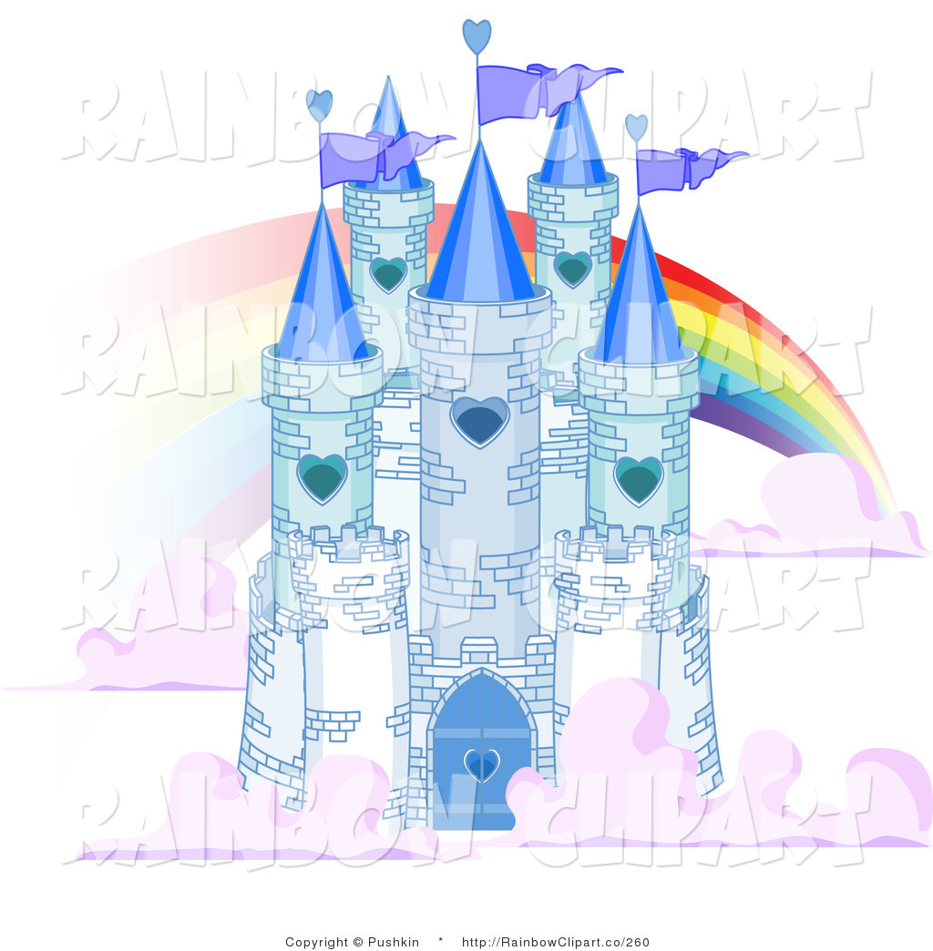 Vector Clip Art of a Blue Stone Castle in the Clouds, with Flags.