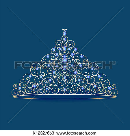 Clipart of women's tiara crown wedding with blue stones on a blue.