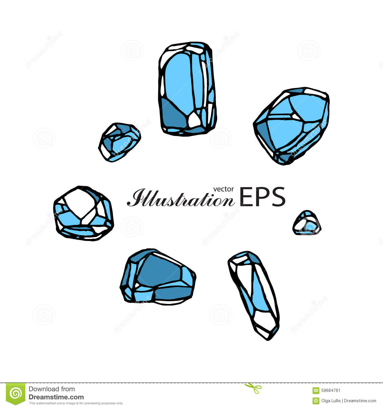 Set Of Seven Blue Stones Stock Vector.