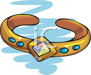 Picture of a Gold Bracelet With Blue Stones In a Vector Clip Art.