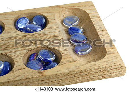 Stock Photo of Wooden mancala game with blue stones k1140103.