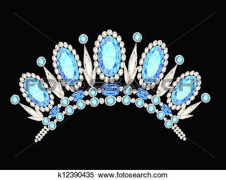 Clipart of diadem crown feminine form kokoshnik with blue stones.