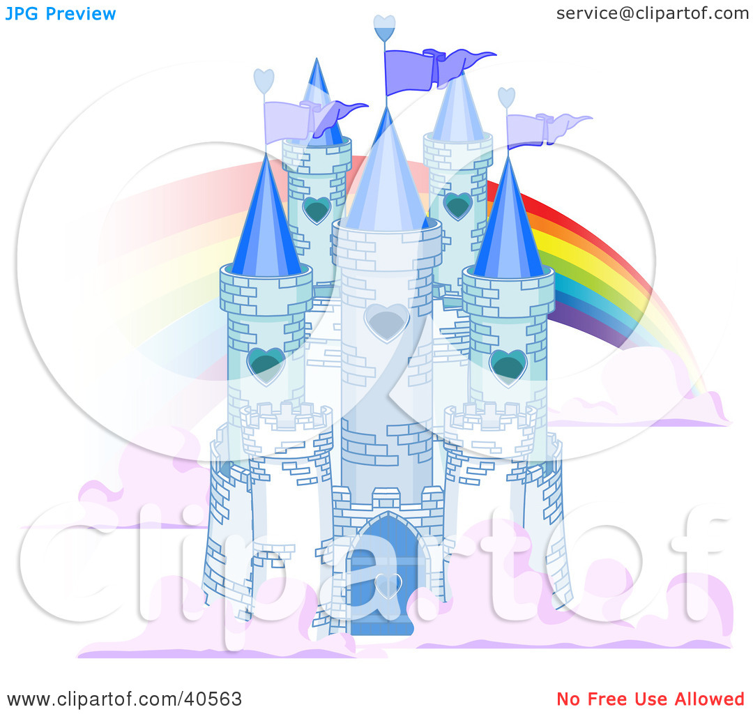 Clipart Illustration of a Blue Stone Castle In The Clouds, With.