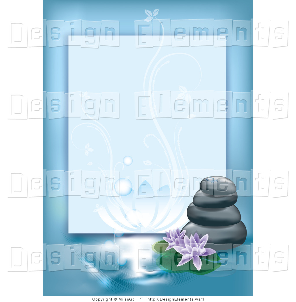 Vector Design Element Clipart of a Blue Spa Border with Stones and.