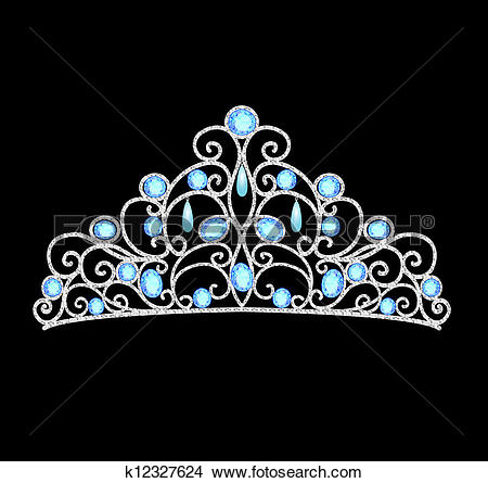 Clipart of women's tiara crown wedding with blue stones and pearls.