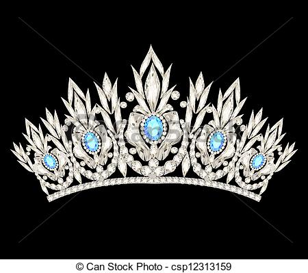 Clipart Vector of tiara crown women's wedding with a light blue.