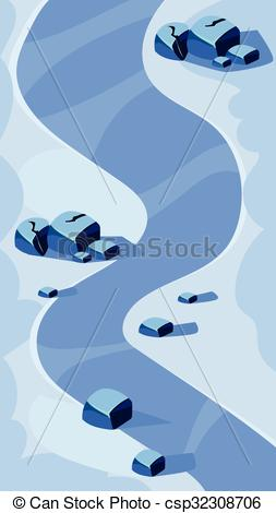 Vector Clipart of Vertical Landscape Illustration, River and Blue.