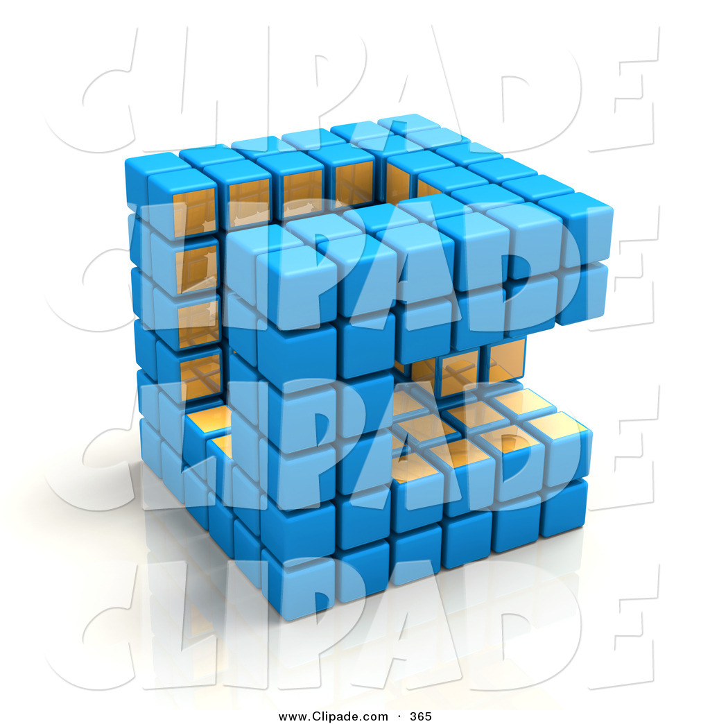 Clip Art of a Blue and Gold Cubic Diagramatic Structure with a.