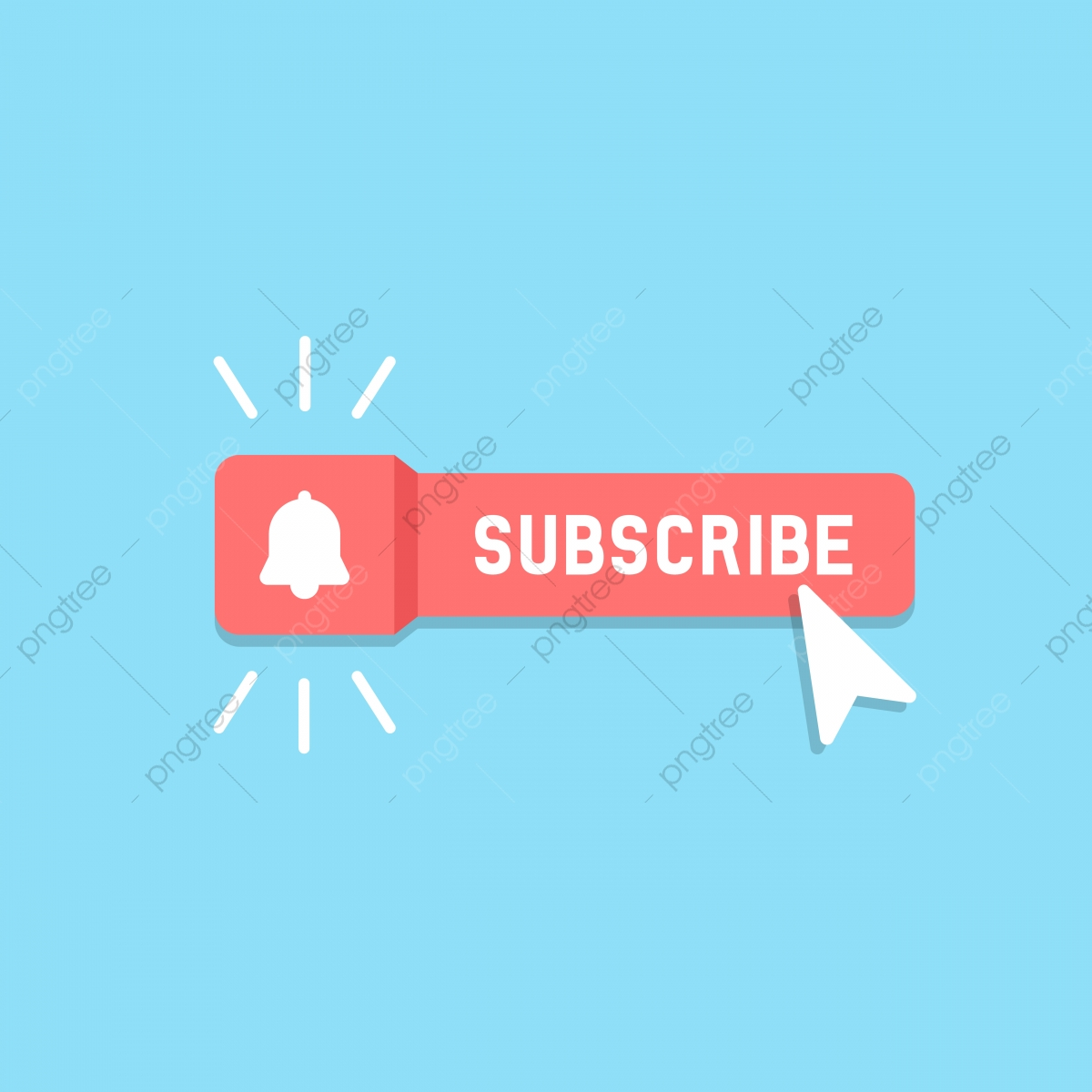 Cool Vector Subscribe Button With Cursor And Notification, Subscribe.