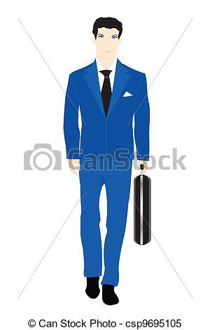 Clipart Vector of Men in Blue Suits.