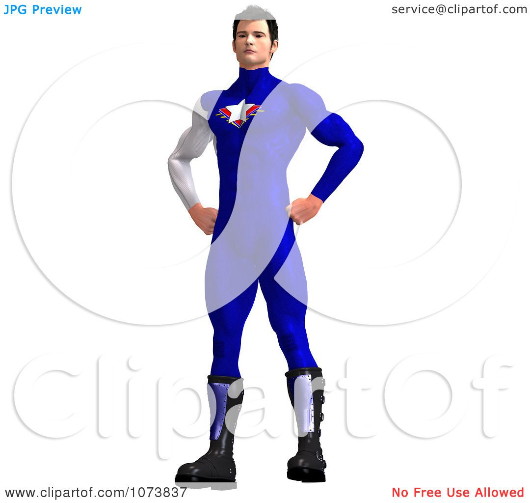 Clipart 3d Superhero Man In A Blue Suit.