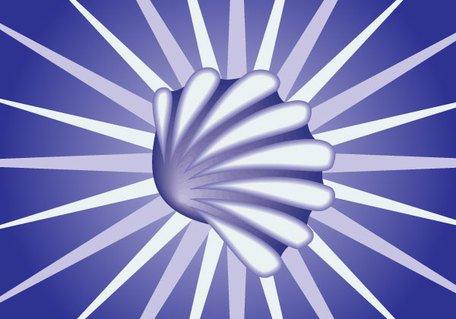 Snail Shell on Blue Sunburst Background Clipart Picture.